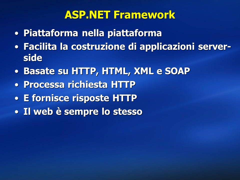 ASP.NET Framework Piattaforma nella piattaforma