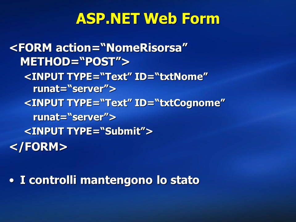 ASP.NET Web Form <FORM action= NomeRisorsa METHOD= POST >