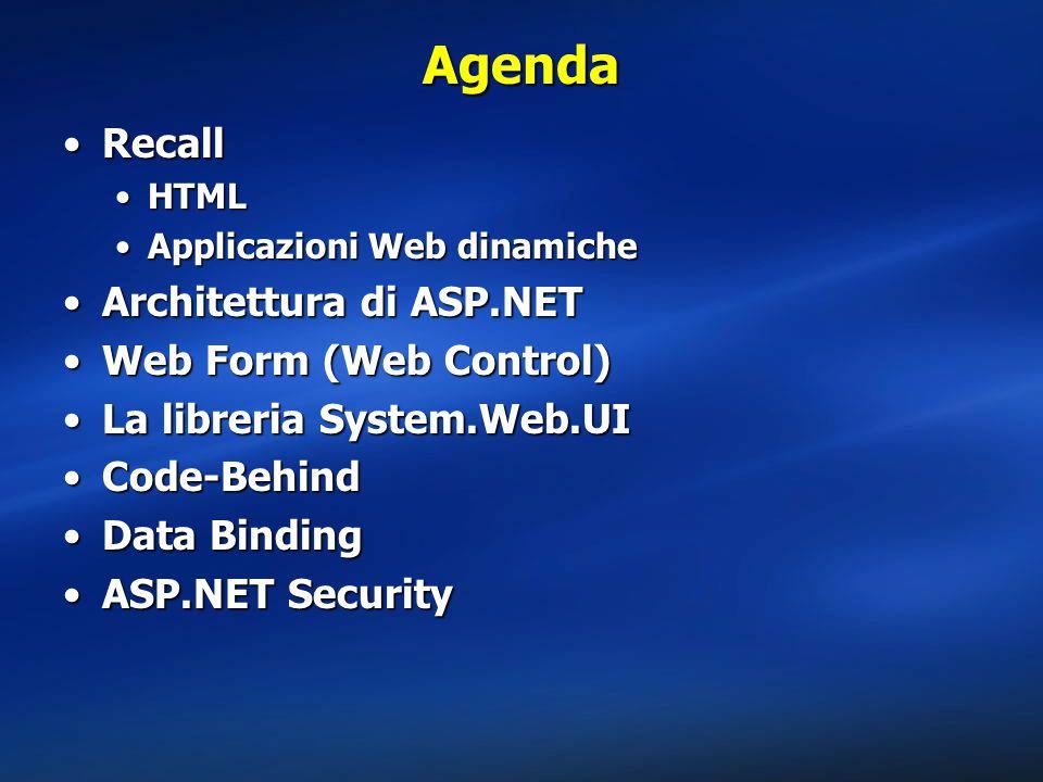 Agenda Recall Architettura di ASP.NET Web Form (Web Control)