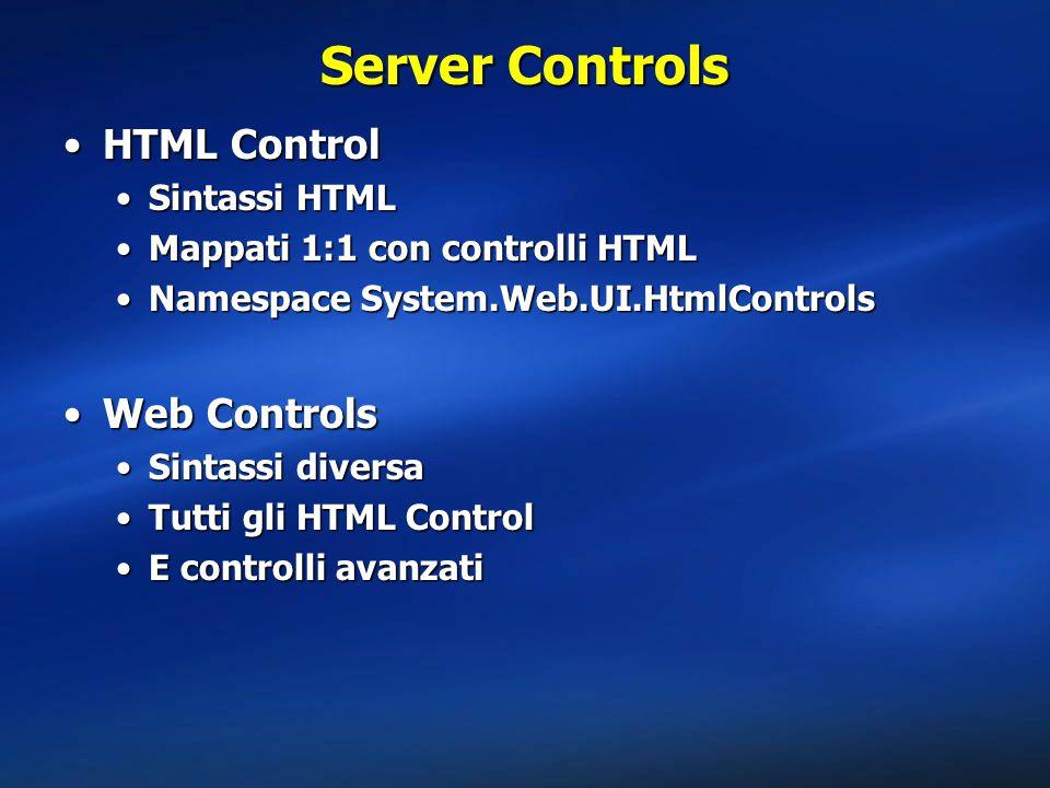 Server Controls HTML Control Web Controls Sintassi HTML