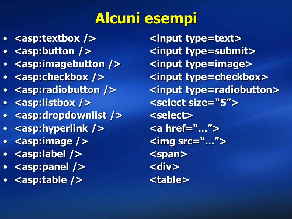 Alcuni esempi <asp:textbox /> <input type=text>
