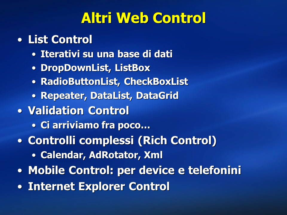Altri Web Control List Control Validation Control