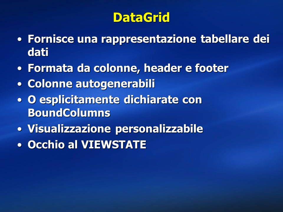 DataGrid Fornisce una rappresentazione tabellare dei dati