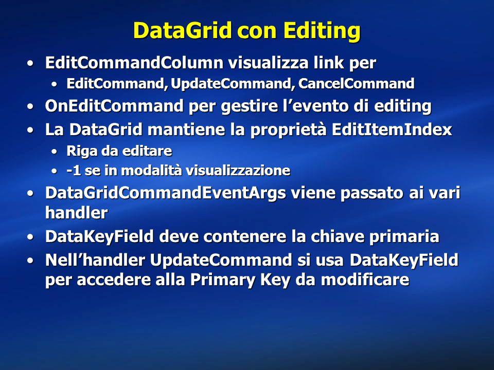 DataGrid con Editing EditCommandColumn visualizza link per