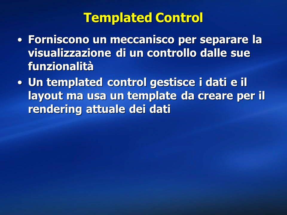 Templated Control Forniscono un meccanisco per separare la visualizzazione di un controllo dalle sue funzionalità.