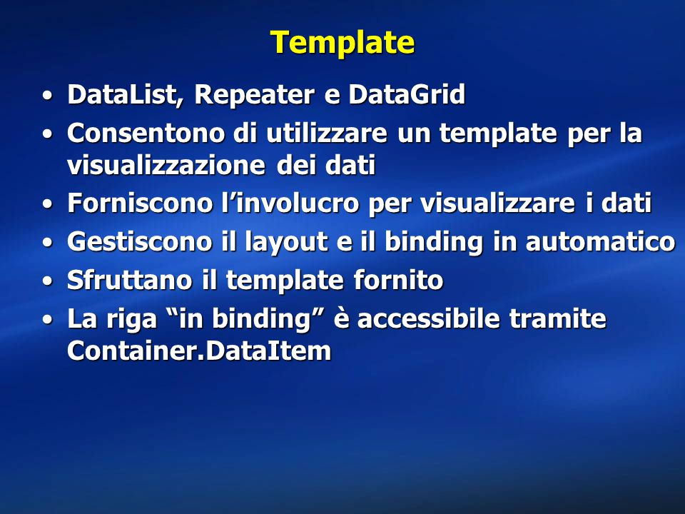 Template DataList, Repeater e DataGrid
