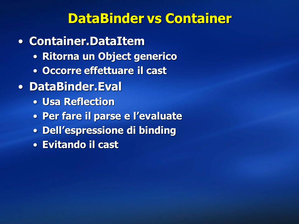DataBinder vs Container