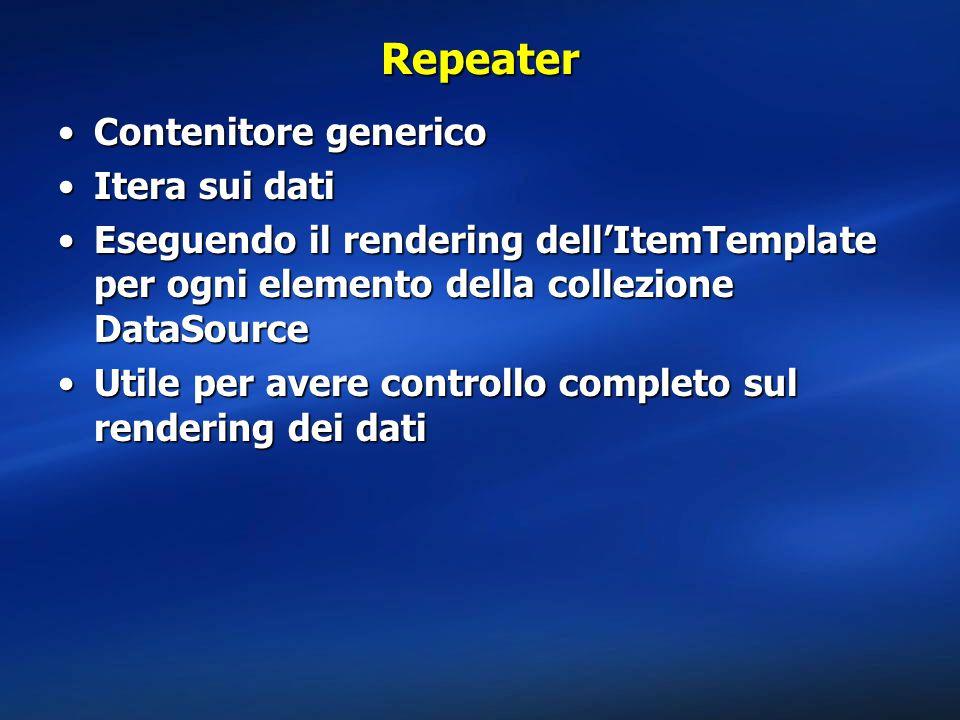 Repeater Contenitore generico Itera sui dati