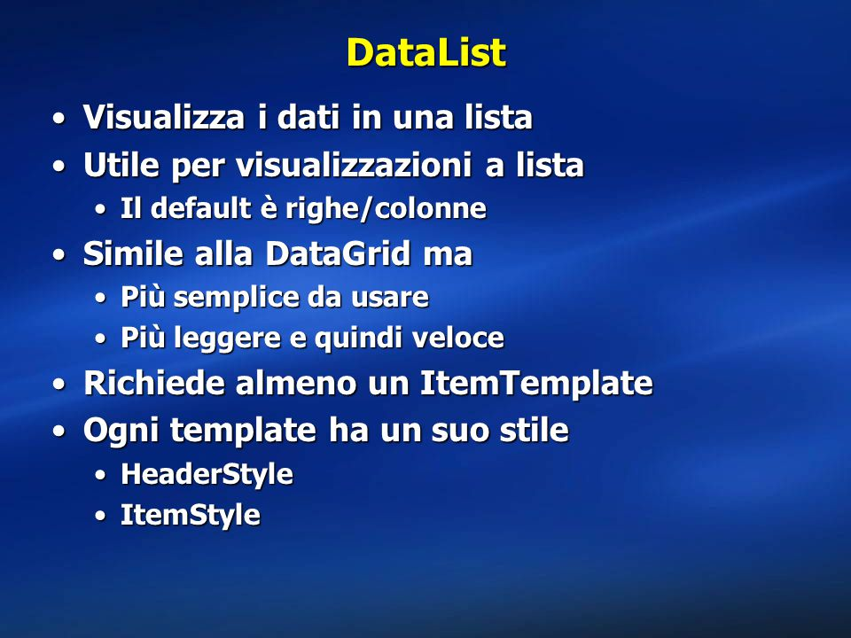 DataList Visualizza i dati in una lista