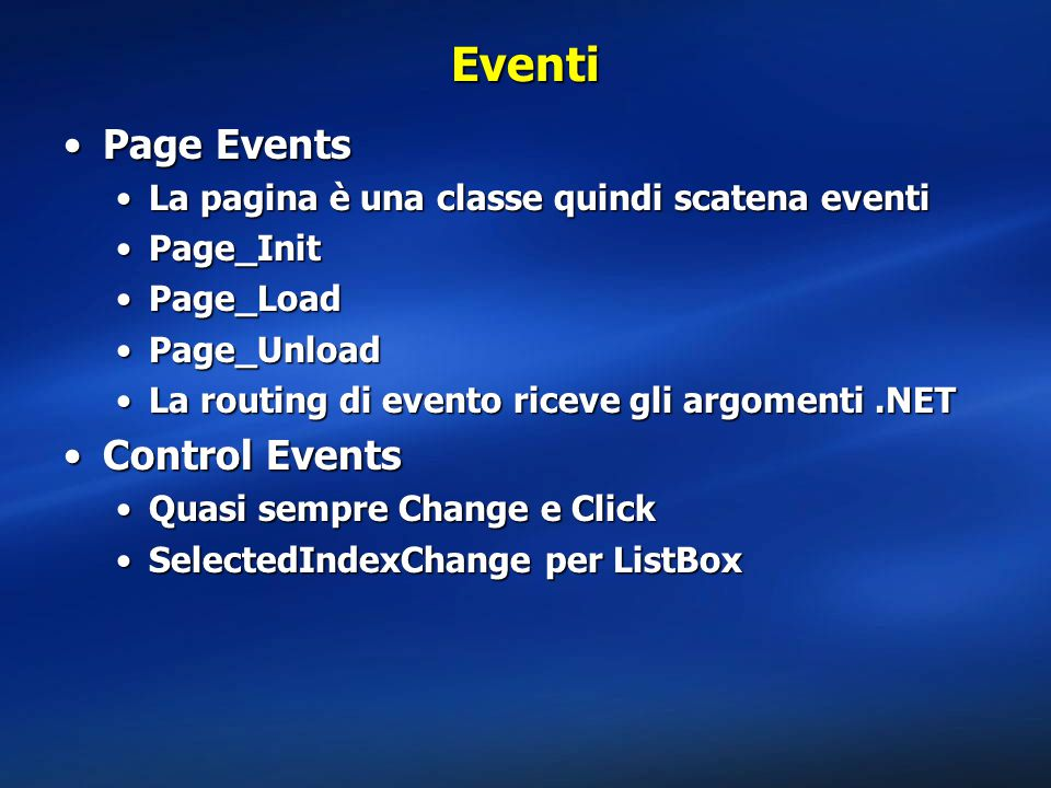 Eventi Page Events Control Events