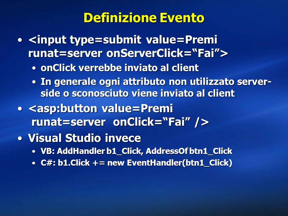Definizione Evento <input type=submit value=Premi runat=server onServerClick= Fai > onClick verrebbe inviato al client.