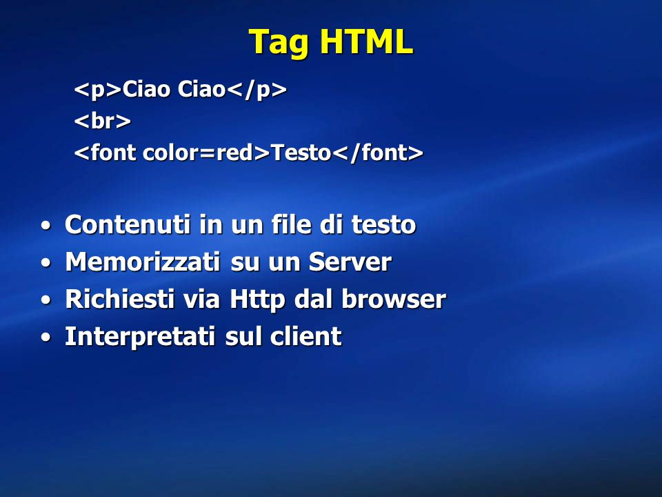 Tag HTML Contenuti in un file di testo Memorizzati su un Server