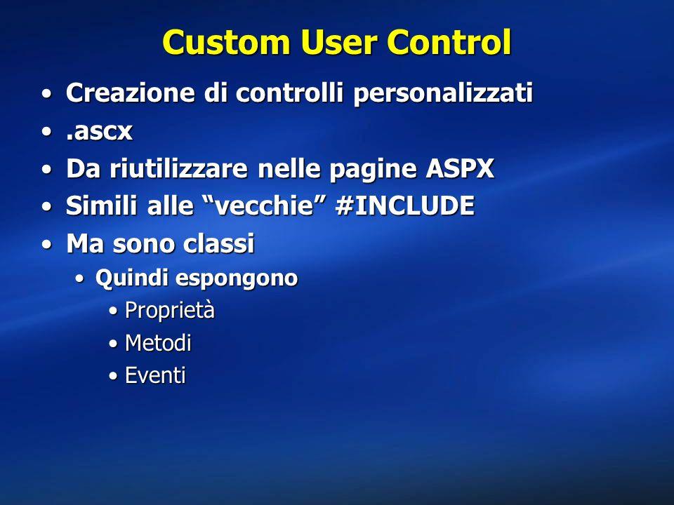 Custom User Control Creazione di controlli personalizzati .ascx
