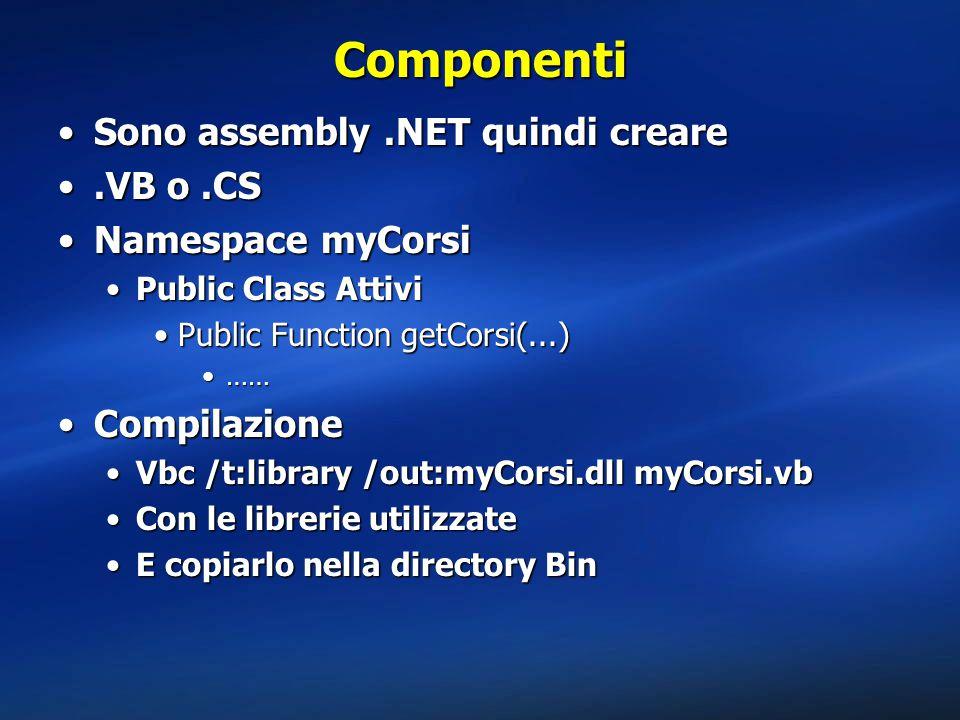Componenti Sono assembly .NET quindi creare .VB o .CS