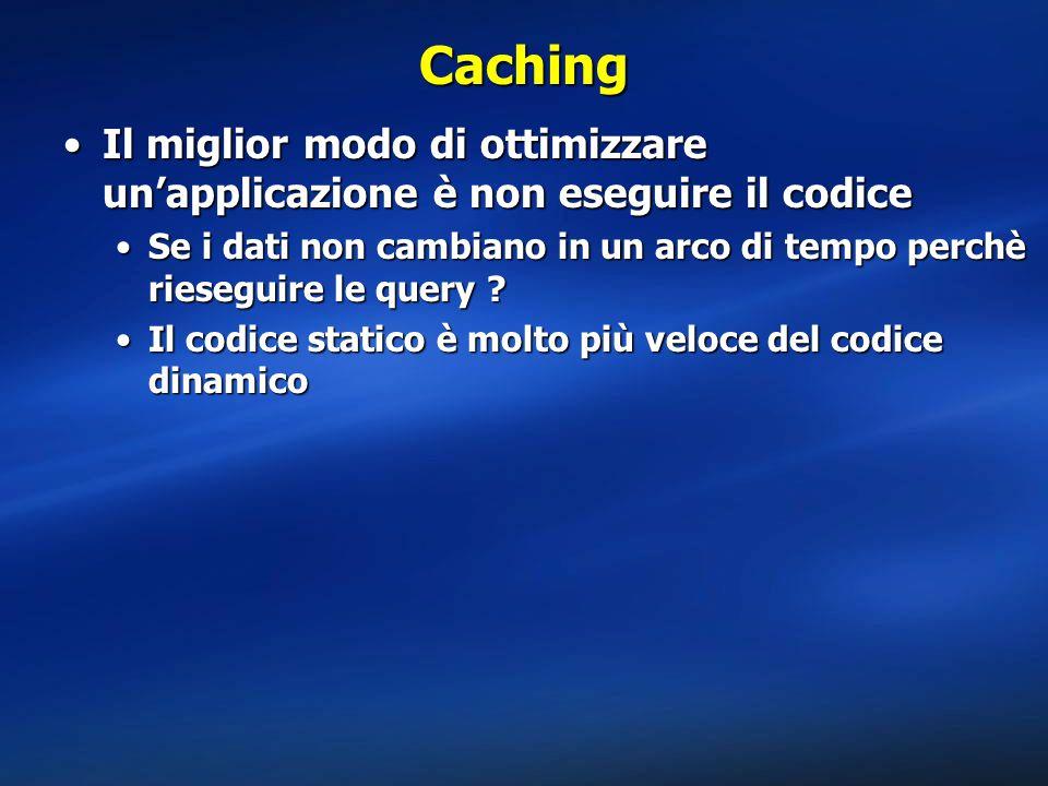 Caching Il miglior modo di ottimizzare un'applicazione è non eseguire il codice.