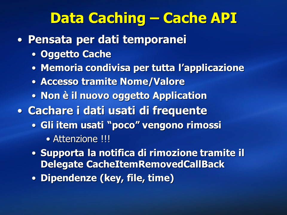 Data Caching – Cache API