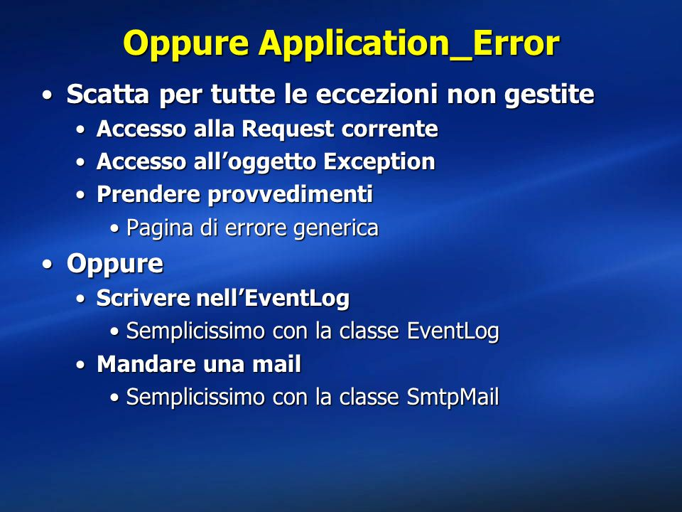 Oppure Application_Error