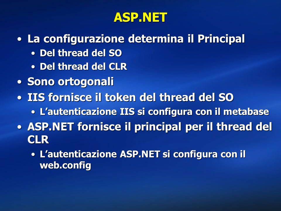 ASP.NET La configurazione determina il Principal Sono ortogonali
