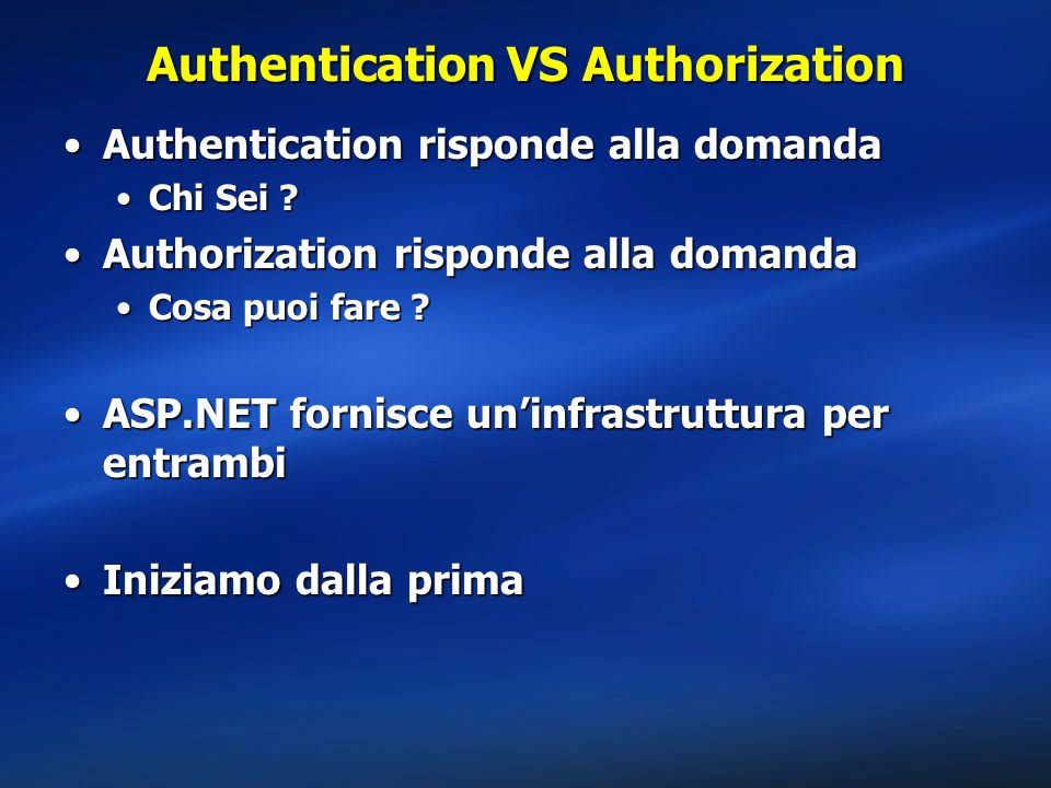 Authentication VS Authorization
