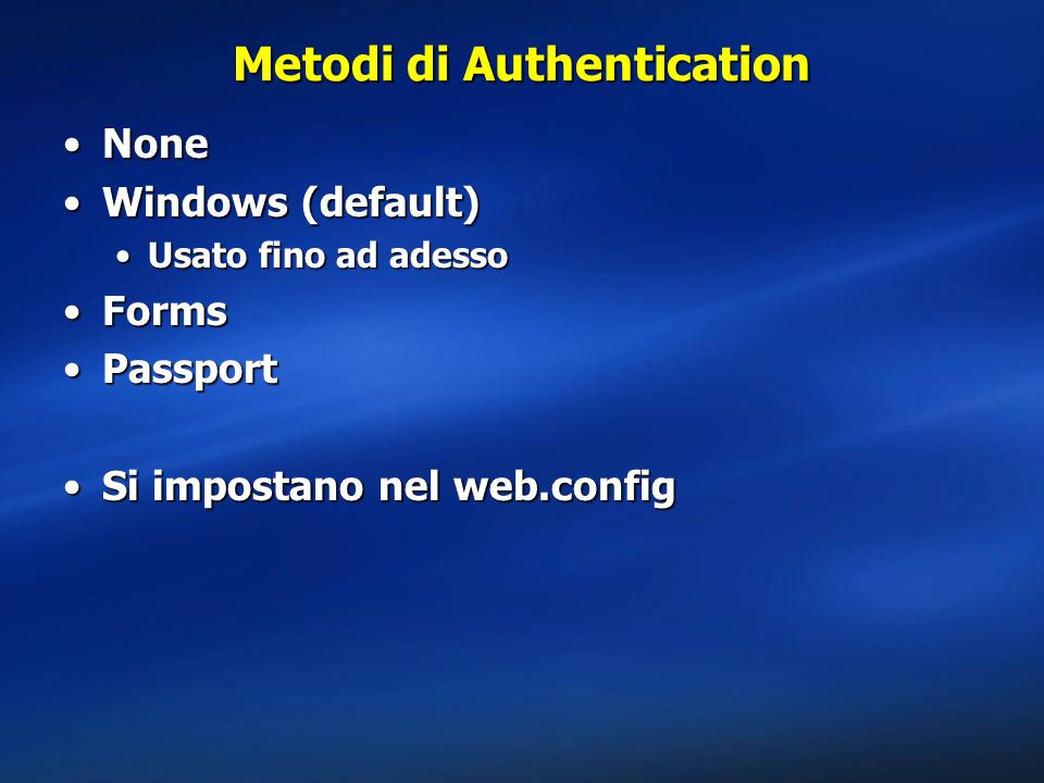 Metodi di Authentication
