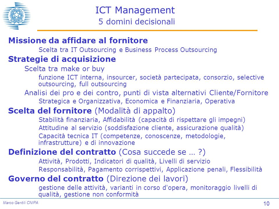 ICT Management 5 domini decisionali
