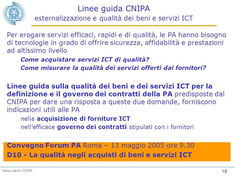 Linee guida CNIPA esternalizzazione e qualità dei beni e servizi ICT