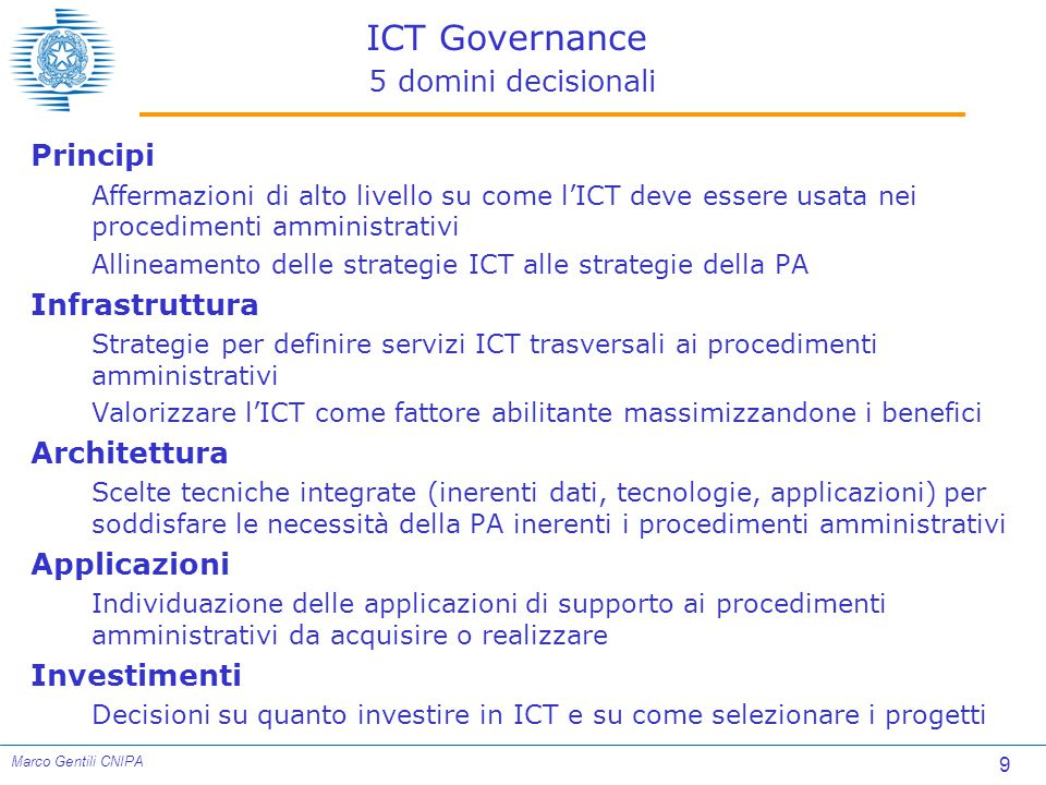 ICT Governance 5 domini decisionali