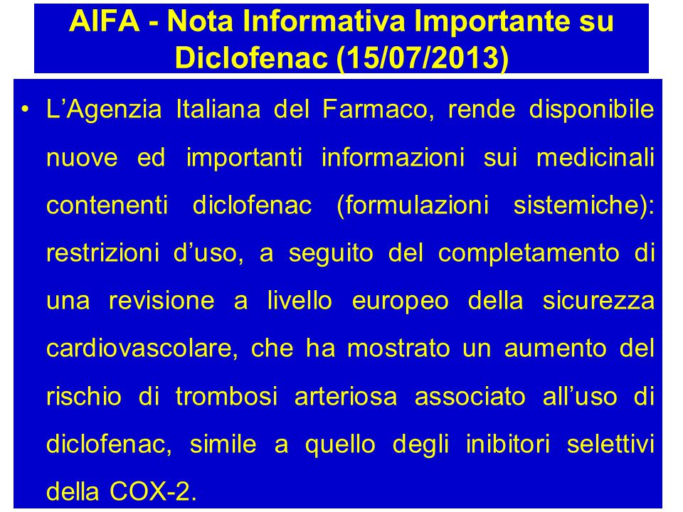 AIFA - Nota Informativa Importante su Diclofenac (15/07/2013)