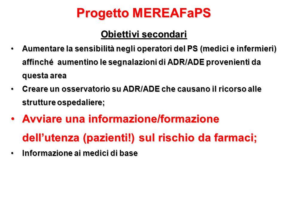 Progetto MEREAFaPS Obiettivi secondari.