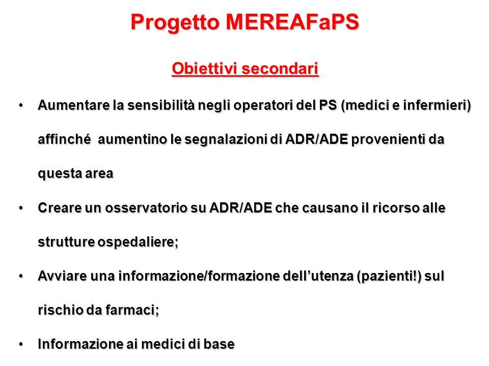 Progetto MEREAFaPS Obiettivi secondari