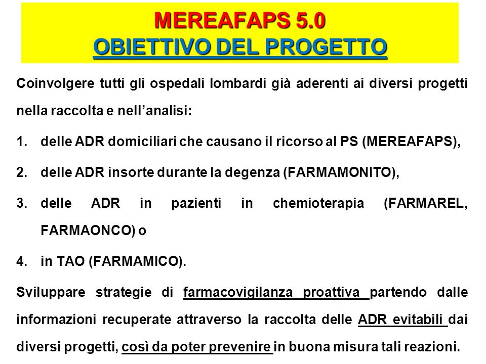MEREAFAPS 5.0 OBIETTIVO DEL PROGETTO