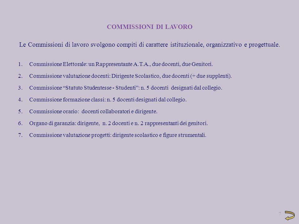 COMMISSIONI DI LAVORO Le Commissioni di lavoro svolgono compiti di carattere istituzionale, organizzativo e progettuale.