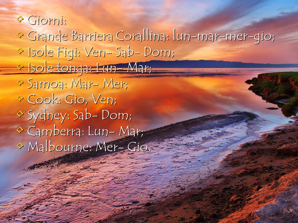Giorni: Grande Barriera Corallina: lun-mar-mer-gio; Isole Figi: Ven- Sab- Dom; Isole tonga: Lun- Mar;