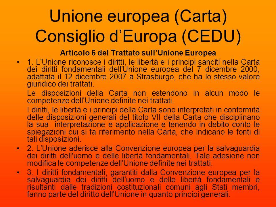 Unione europea (Carta) Consiglio d'Europa (CEDU)