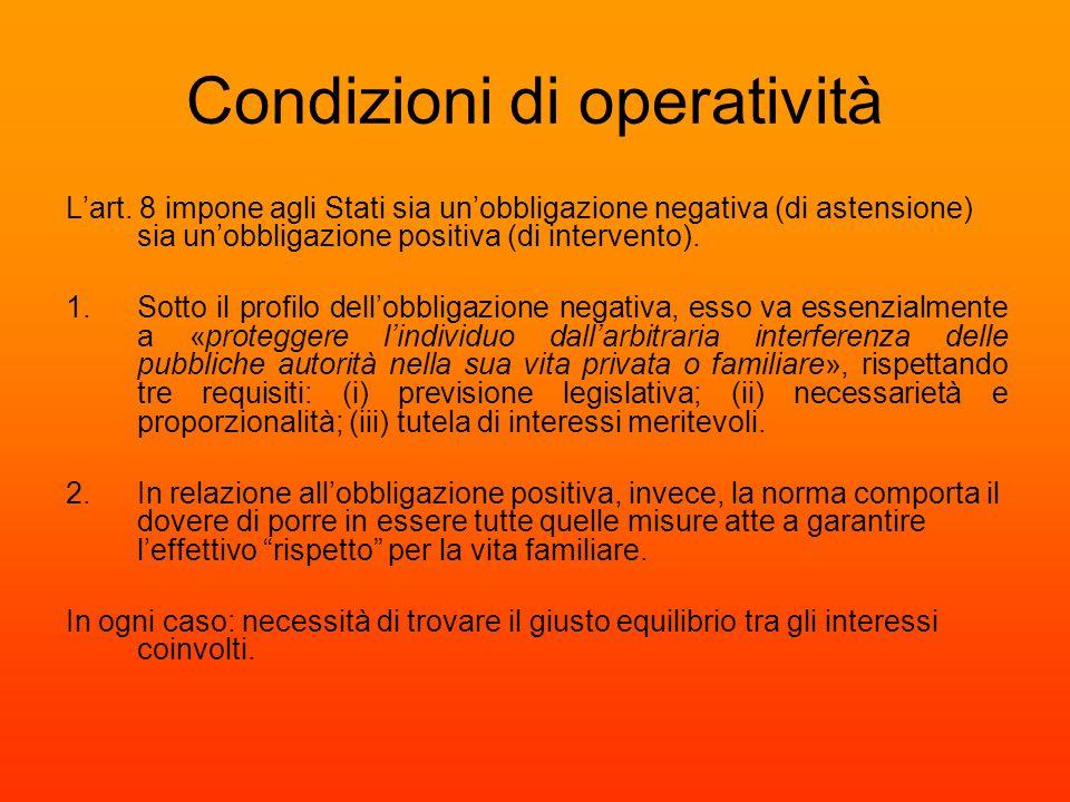 Condizioni di operatività