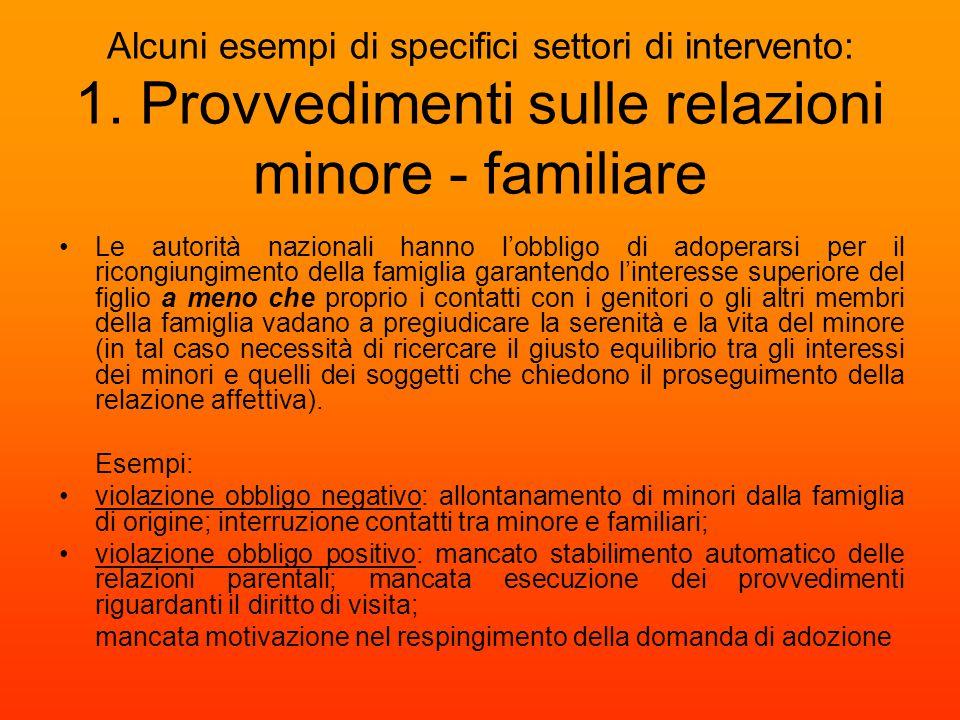 Alcuni esempi di specifici settori di intervento: 1