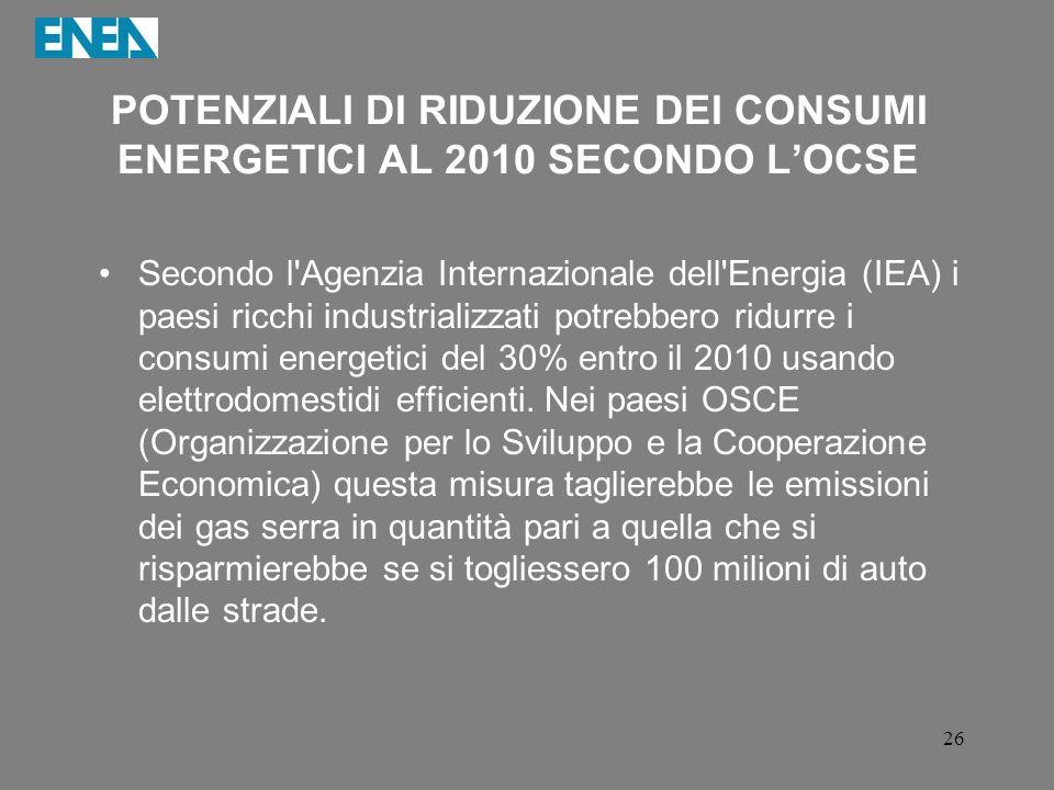 POTENZIALI DI RIDUZIONE DEI CONSUMI ENERGETICI AL 2010 SECONDO L'OCSE
