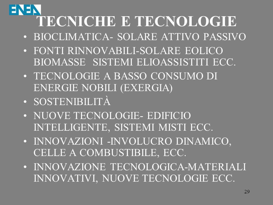 TECNICHE E TECNOLOGIE BIOCLIMATICA- SOLARE ATTIVO PASSIVO
