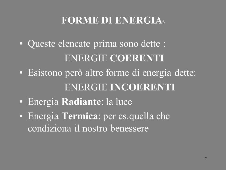 FORME DI ENERGIA3 Queste elencate prima sono dette : ENERGIE COERENTI. Esistono però altre forme di energia dette: