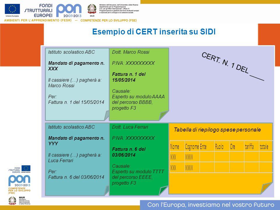 Esempio di CERT inserita su SIDI