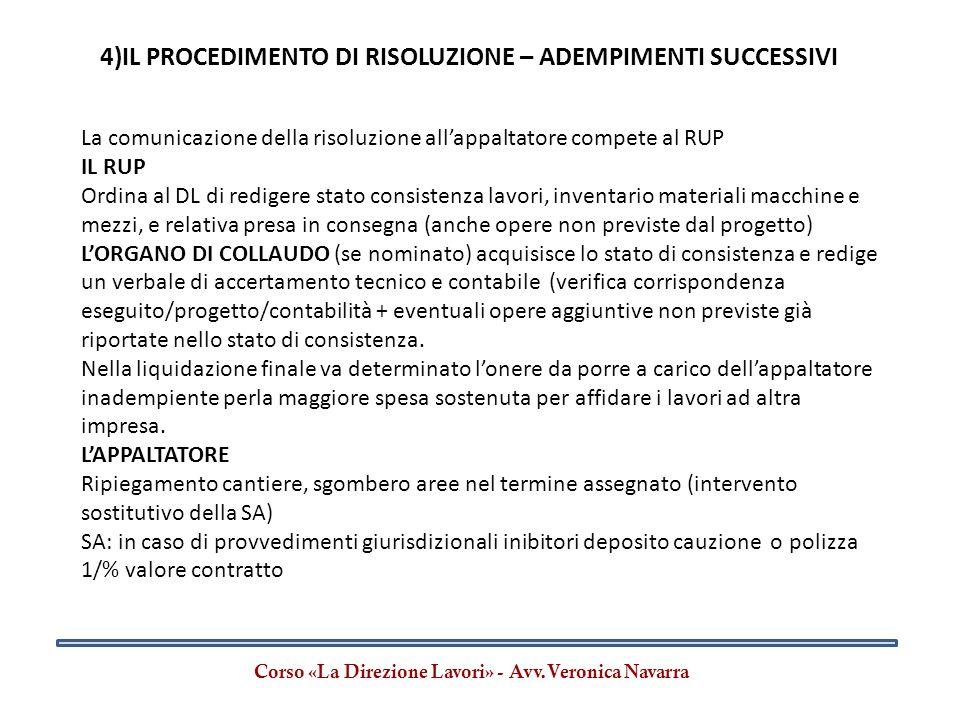 4)IL PROCEDIMENTO DI RISOLUZIONE – ADEMPIMENTI SUCCESSIVI