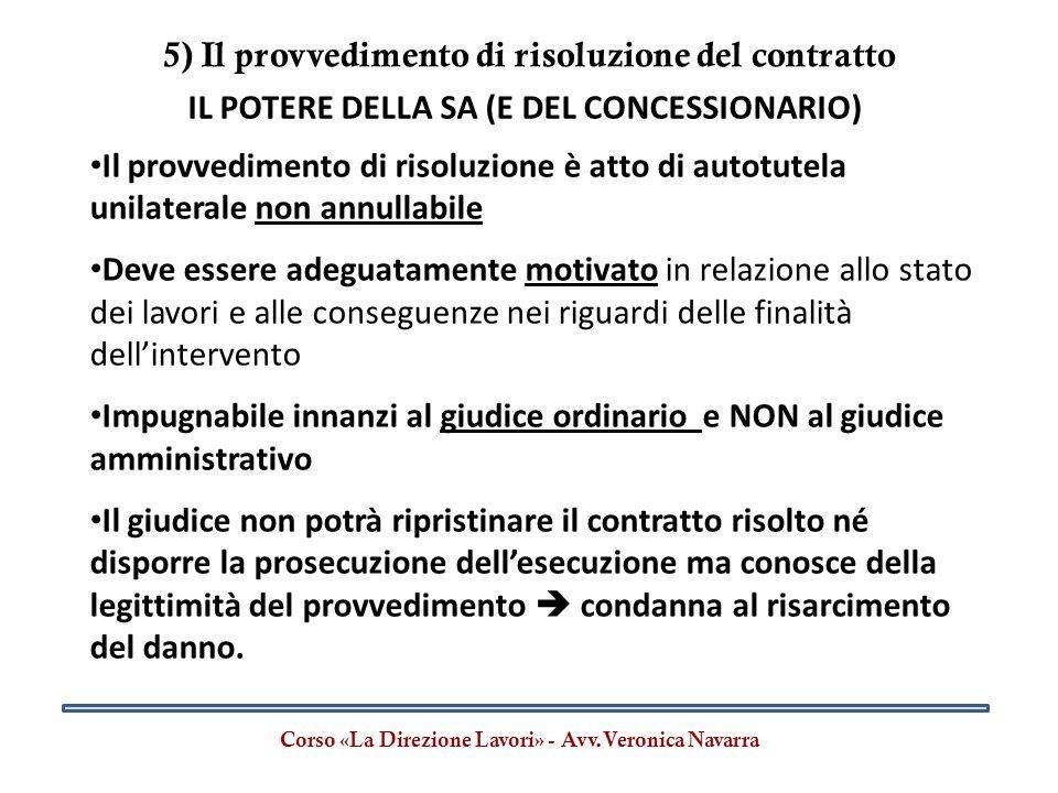 5) Il provvedimento di risoluzione del contratto
