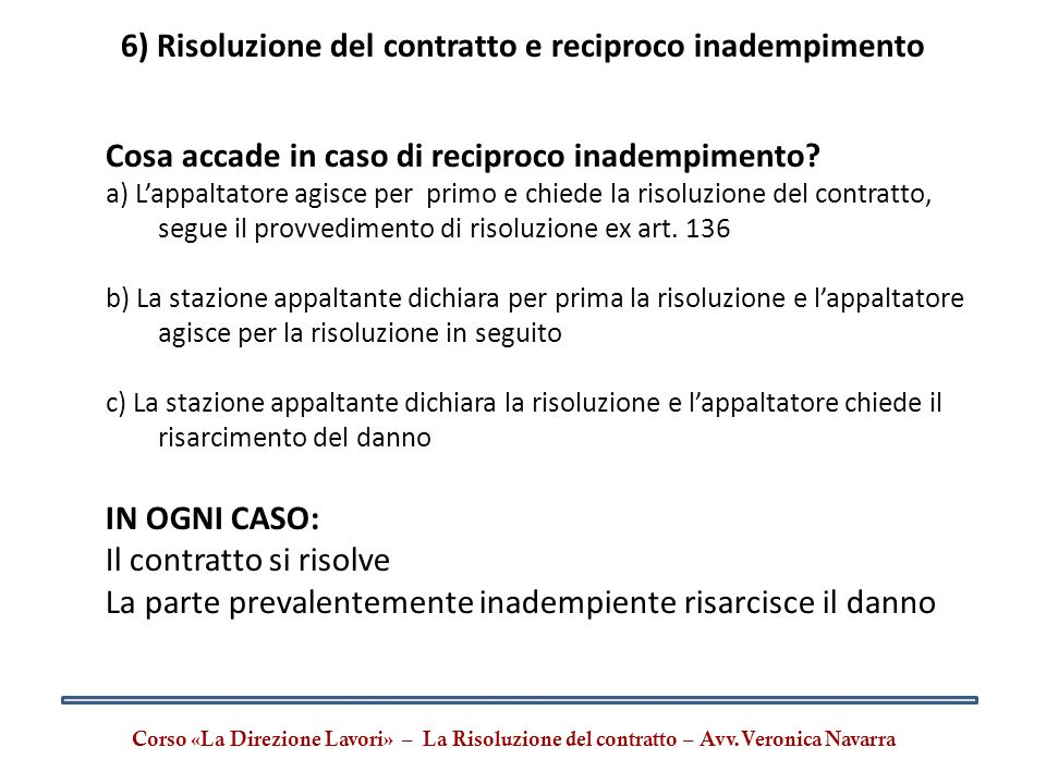 6) Risoluzione del contratto e reciproco inadempimento
