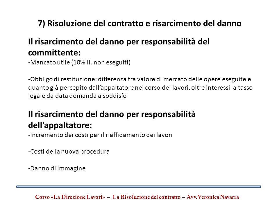 7) Risoluzione del contratto e risarcimento del danno