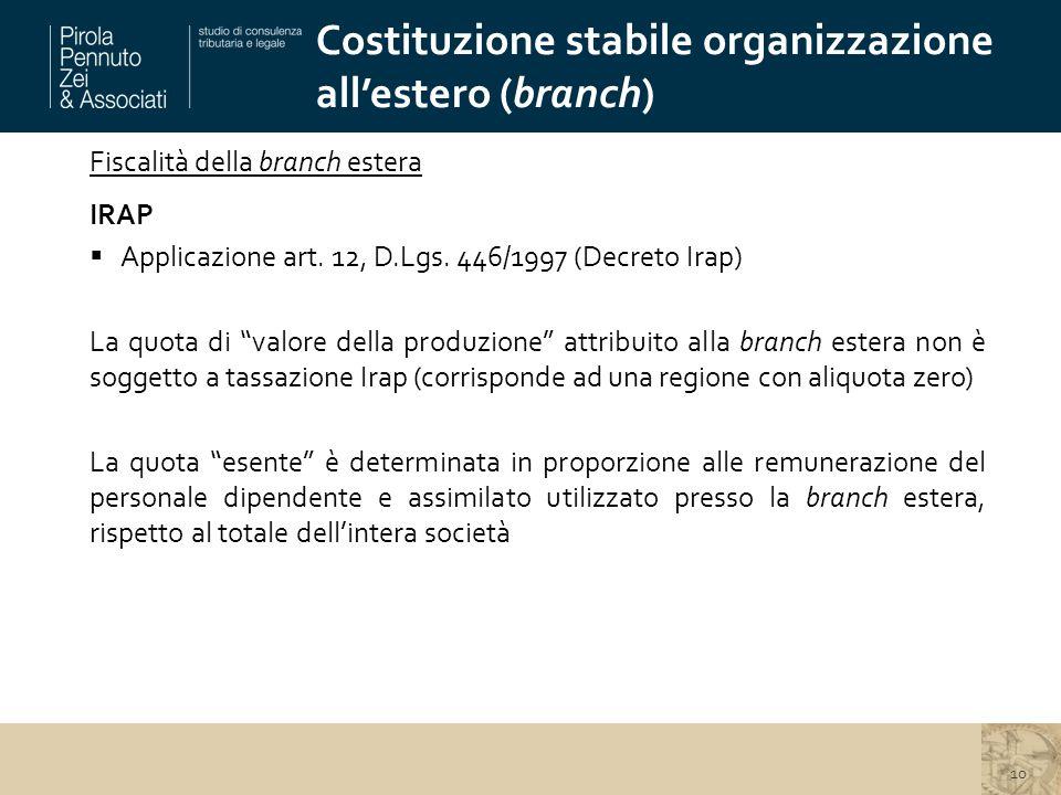 Costituzione stabile organizzazione all'estero (branch)