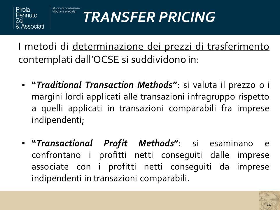 TRANSFER PRICING I metodi di determinazione dei prezzi di trasferimento contemplati dall'OCSE si suddividono in: