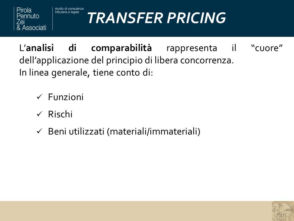 TRANSFER PRICING L'analisi di comparabilità rappresenta il cuore dell'applicazione del principio di libera concorrenza.