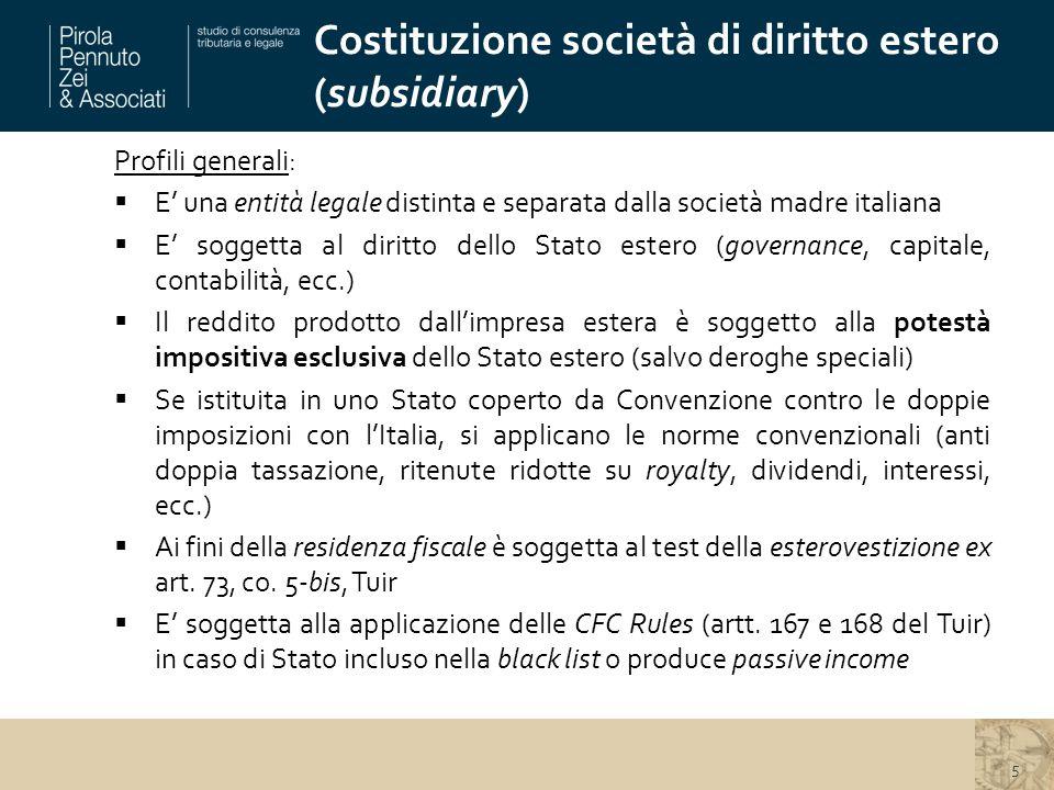 Costituzione società di diritto estero (subsidiary)
