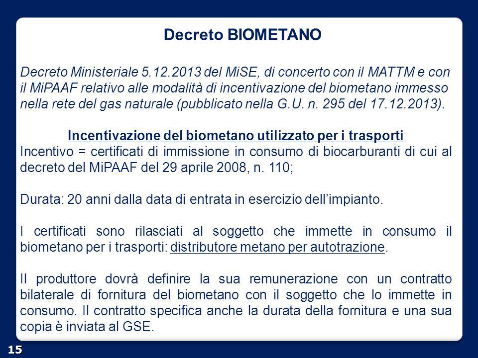 Incentivazione del biometano utilizzato per i trasporti