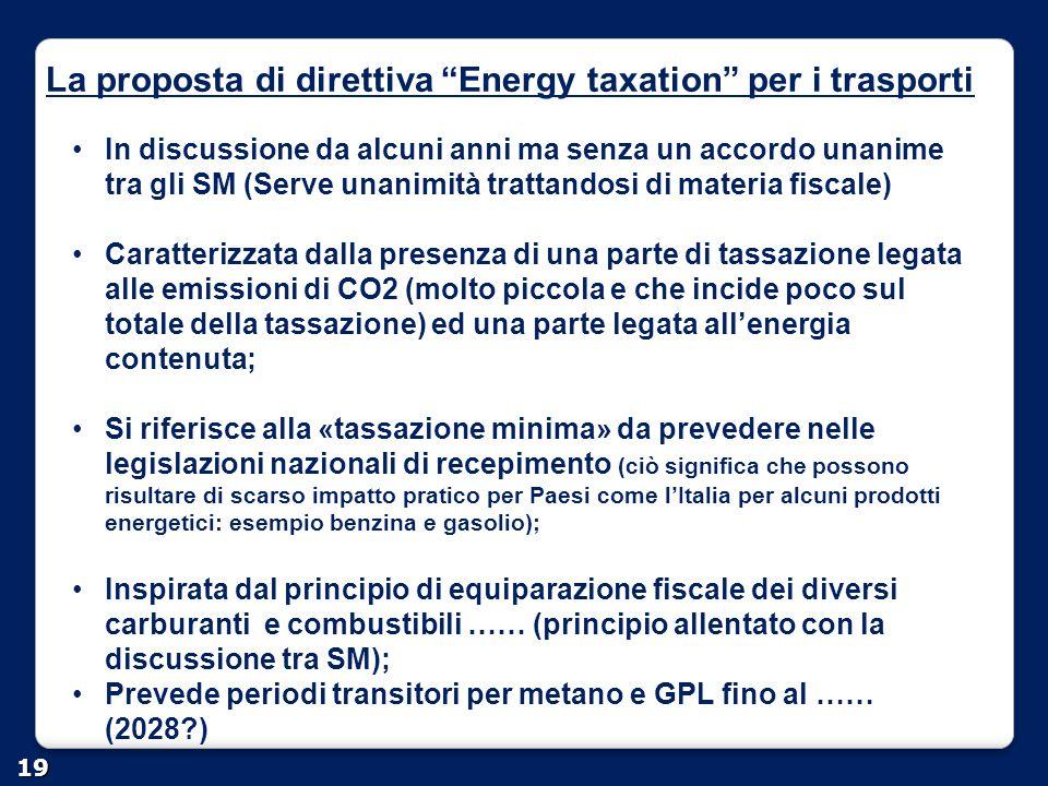 La proposta di direttiva Energy taxation per i trasporti